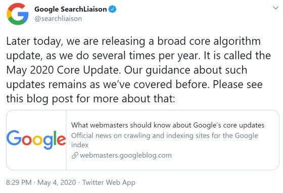May 2020 core update